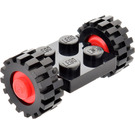 LEGO Black Vintage Axle Plate With Red Wheel Hub and Small Offset Treaded Tyre