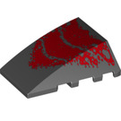 LEGO Black Wedge 4 x 4 Triple Curved without Studs with Dark Red Scales (58637)