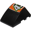 "LEGO Black Wedge Curved 3 x 4 Triple with ""4"" Sticker"
