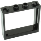 LEGO Black Window 1 x 4 x 3 without Shutter Tabs (60594)