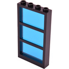 LEGO Black Window 1 x 4 x 6 with 3 Panes and Transparent Dark Blue Fixed Glass