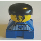 LEGO Blue 2x2 Duplo Base Brick Figure - Striped Overalls, yellow head, Black Hair Duplo Figure