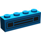 LEGO Blue Brick 1 x 4 with Black Car Grille without Embossing