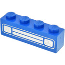 LEGO Blue Brick 1 x 4 with Car Grille and Headlights Chrome Silver Pattern
