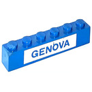 LEGO Blue Brick 1 x 6 with GENOVA Decoration from set 113