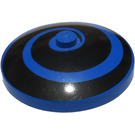 LEGO Blue Dish 4 x 4 Inverted with Black Spiral with Solid Stud