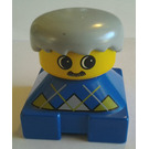 LEGO Blue Duplo 2x2 Base Brick Figure - Argyle pattern, Gray hair, Yellow head with mustache Duplo Figure