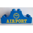 """LEGO Blue Duplo Bow 2 x 6 x 2 with """"Airport"""" and Clock"""