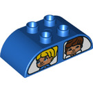LEGO Blue Duplo Brick 2 x 4 with Curved Sides with Windows and Figures (25299)