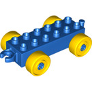 LEGO Blue Duplo Car Chassis 2 x 6 with Yellow Wheels (10715 / 14639 / 74656)