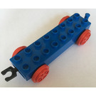 LEGO Blue Duplo Train Carriage 2 x 8 with Red Wheels and Movable Hook