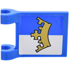 LEGO Blue Flag 2 x 2 with Gold Crown on Blue and White Background Pattern Sticker
