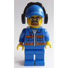 LEGO Blue Jacket with Orange Stripes, Blue Cap with Headphones and Safety Goggles Minifigure
