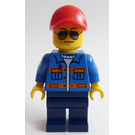 LEGO Blue Jacket with Pockets and Orange Stripes, Dark Blue Legs, Red Cap with Hole, Sunglasses Minifigure