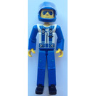 LEGO Blue Legs, White Top with Zipper & Shoulder Harness Pattern Technic Figure