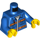 LEGO Blue Minifigure Torso Unbuttoned Jacket with Two Orange Stripes and Pockets, over Light-Blue Ribbed-Neck Shirt (76382 / 88585)
