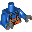 LEGO Blue Minifigure Torso with Orange Bib Overalls with Pocket and Black Clips over Ribbed-neck Shirt (76382)