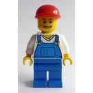 LEGO Blue Overalls , Blue Legs, Red Cap Minifigure