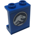LEGO Blue Panel 1 x 2 x 2 with Jurassic World Dino Logo Sticker with Side Supports, Hollow Studs