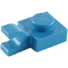 LEGO Blue Plate 1 x 1 with Horizontal Clip (Flat Fronted Clip) (6019)