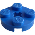 LEGO Blue Plate 2 x 2 Round with Axle Hole (with '+' Axle Hole) (4032)