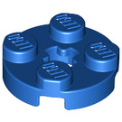 LEGO Blue Plate 2 x 2 Round with Axle Hole (with 'X' Axle Hole) (4032)