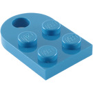 LEGO Blue Plate 2 x 3 with Rounded End and Pin Hole (3176)