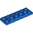 LEGO Blue Plate 2 x 6 x 0.667 with Four Studs On Side and Four Raised (87609)