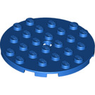LEGO Blue Plate 6 x 6 Round with Pin Hole (11213)