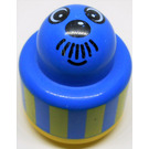 LEGO Bleu Primo Round Rattle 1 x 1 Brick with Face with Moustache and Yellow Stripes