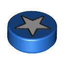 LEGO Blue Round 1 x 1 Tile with White Star Pattern (25201)