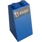 LEGO Blue Slope 2 x 2 x 3 (75°) with 'BANK' Sticker Solid Studs