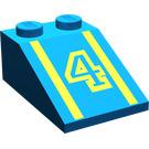 "LEGO Bleu Pente 2 x 3 (25°) avec ""4"" avec surface rugueuse"