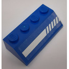 LEGO Blue Slope 2 x 4 (45°) with Diagonal Striped White Lines (Left) Sticker with Rough Surface