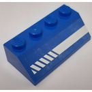 LEGO Blue Slope 2 x 4 (45°) with Diagonal Striped White Lines (Right) Sticker with Rough Surface