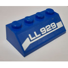 """LEGO Blue Slope 2 x 4 (45°) with """"LL29"""" Lettering (Left) Sticker with Rough Surface"""