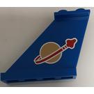 LEGO Blue Tail 4 x 1 x 3 with Space Logo Symbol (Left) Sticker
