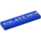 LEGO Blue Tile 1 x 4 with 'LATCH' & Warning Triangles Sticker from Set 70816