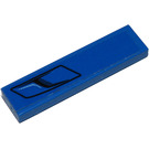 LEGO Blue Tile 1 x 4 with Left Black decoration Sticker with Groove