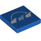 LEGO Blue Tile 2 x 2 with Frog-Jump Decoration with Groove (94449)