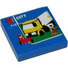 LEGO Bleu Tuile 2 x 2 avec Truck et Minifigures Autocollant avec Groove