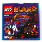 LEGO Blue Tile 2 x 2 with 'ISLAND' and Lego Logo Sticker with Groove