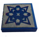 LEGO Blau Fliese 2 x 2 ohne Kante  mit Blau Dekoration