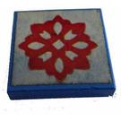 LEGO Blau Fliese 2 x 2 ohne Kante  mit rot Blume