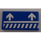 LEGO Blue Tile 2 x 4 with Diagonal Striped White Lines and Arrows (Right) Sticker