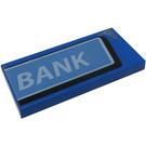 LEGO Blue Tile 2 x 4 with White 'BANK' on Medium Blue Background Sticker