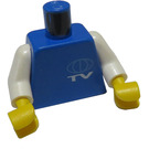 LEGO Blue Torso with TV logo with white arms and yellow hands