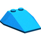 LEGO Blue Wedge 4 x 4 Triple without Stud Notches