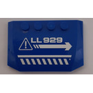 """LEGO Blue Wedge 4 x 6 Curved with """"LL929"""" Danger Diagonal White Lines and Right Arrow Sticker"""