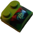 LEGO Bonnet 2 x 2 x 2/3 with Lime 'm' without Curved End (41855)